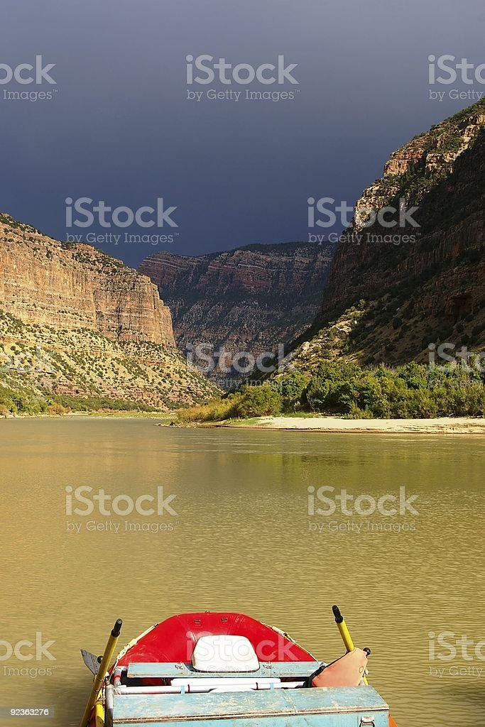 Raft with Bright River royalty-free stock photo