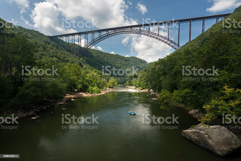 Rafters at the New River Gorge Bridge in West Virginia stock photo