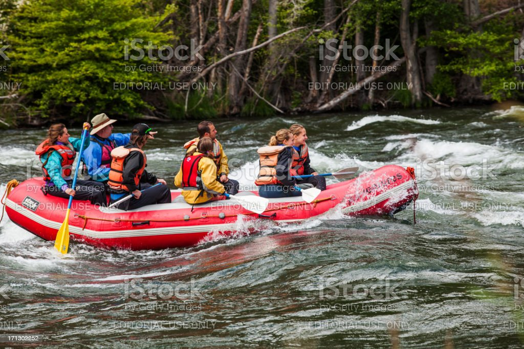 Rafters on the Deschutes River stock photo