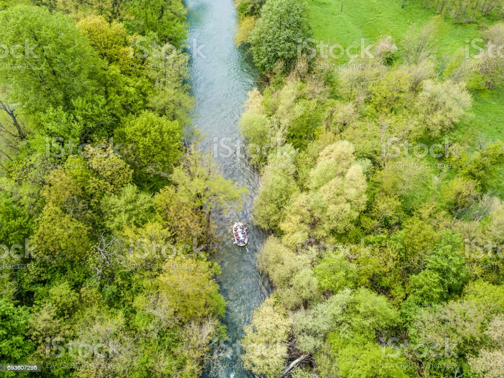 Rafting aerial view from a drone in Nera's Gorges, Romania (Cheile Nerei) stock photo