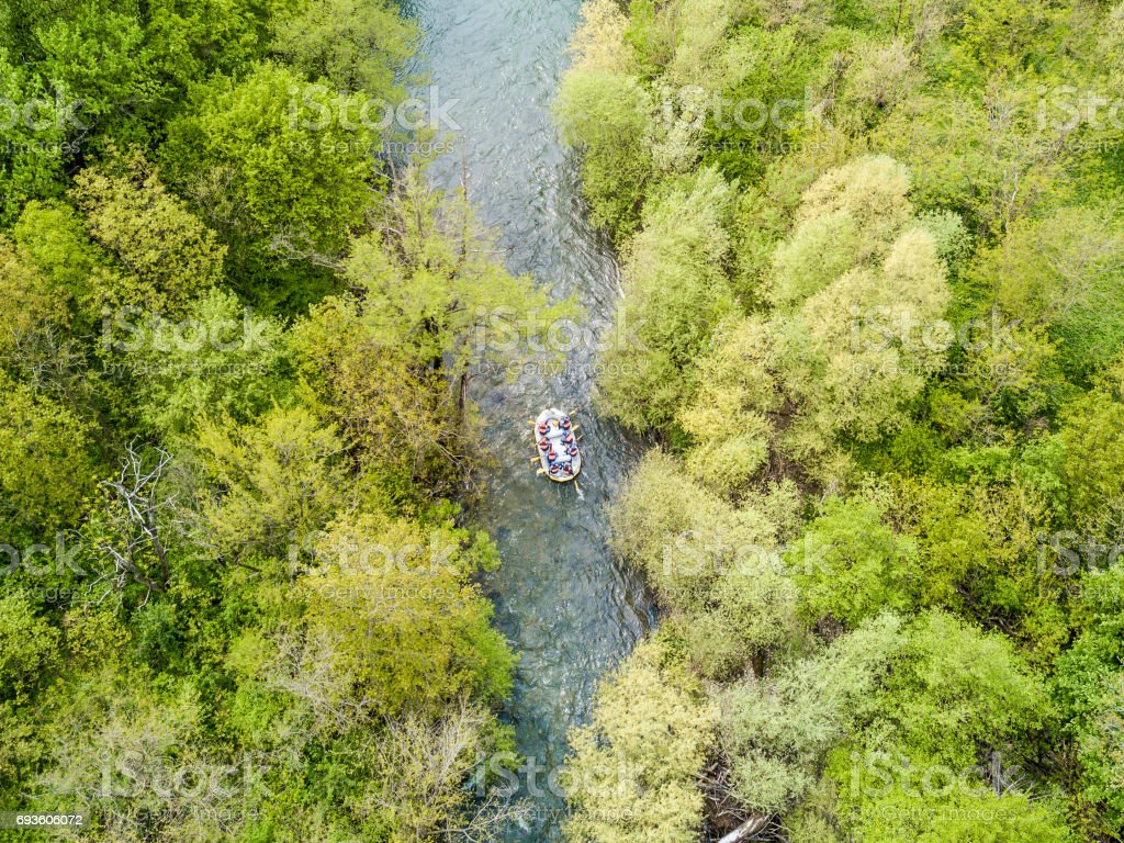 Rafting aerial view on a river trough the woods stock photo