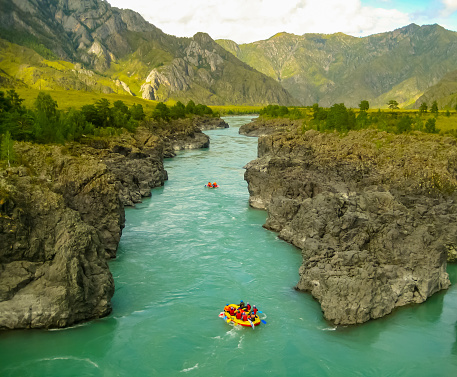 Rafting along the canyon of a mountain river.