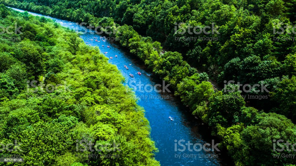 Rafting at the Lehigh River near by Jim Thorp (Mauch Chunk), Carbon County, Poconos region, Pennsylvania stock photo