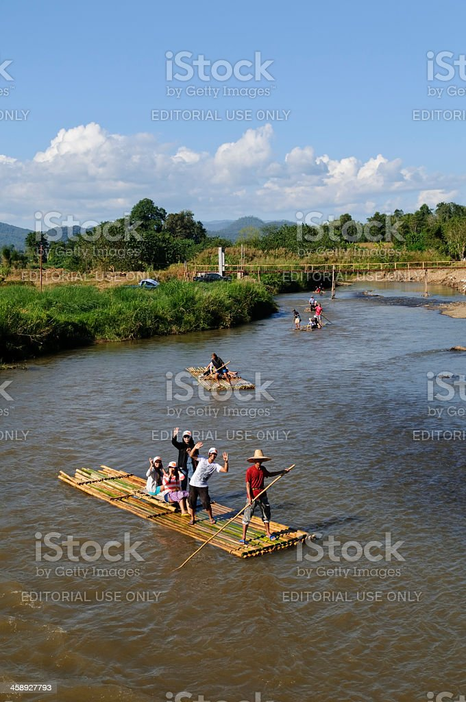 Rafting down Pai River, Thailand stock photo