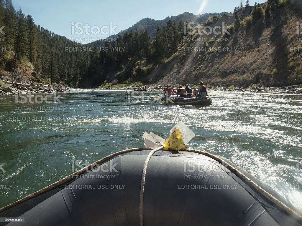 Rafting down the Snake River, Wyoming stock photo