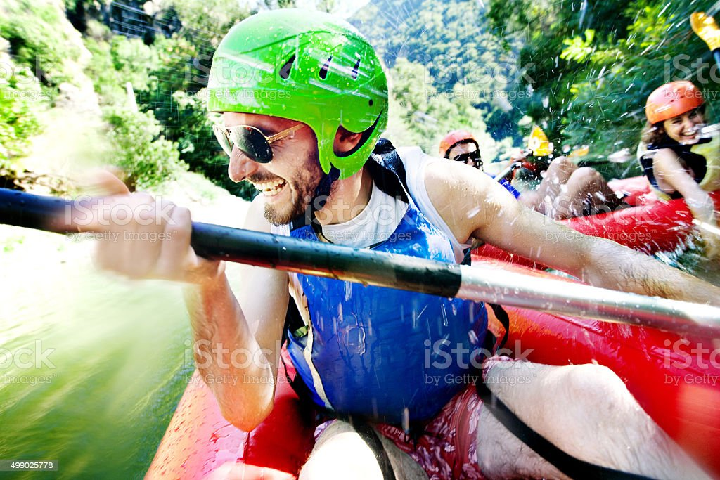 rafting excitement stock photo