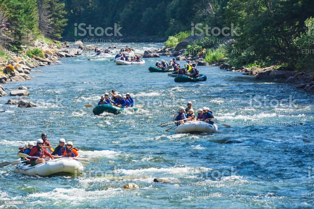 Rafting in Montana stock photo