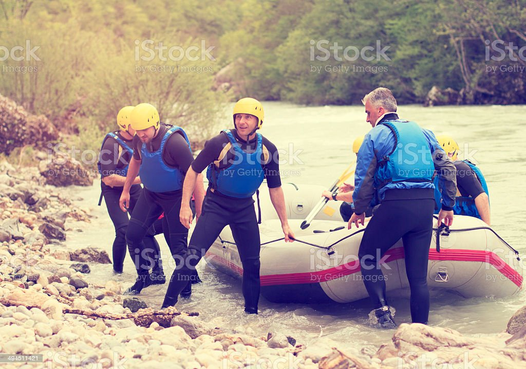 Rafting in Tara river stock photo