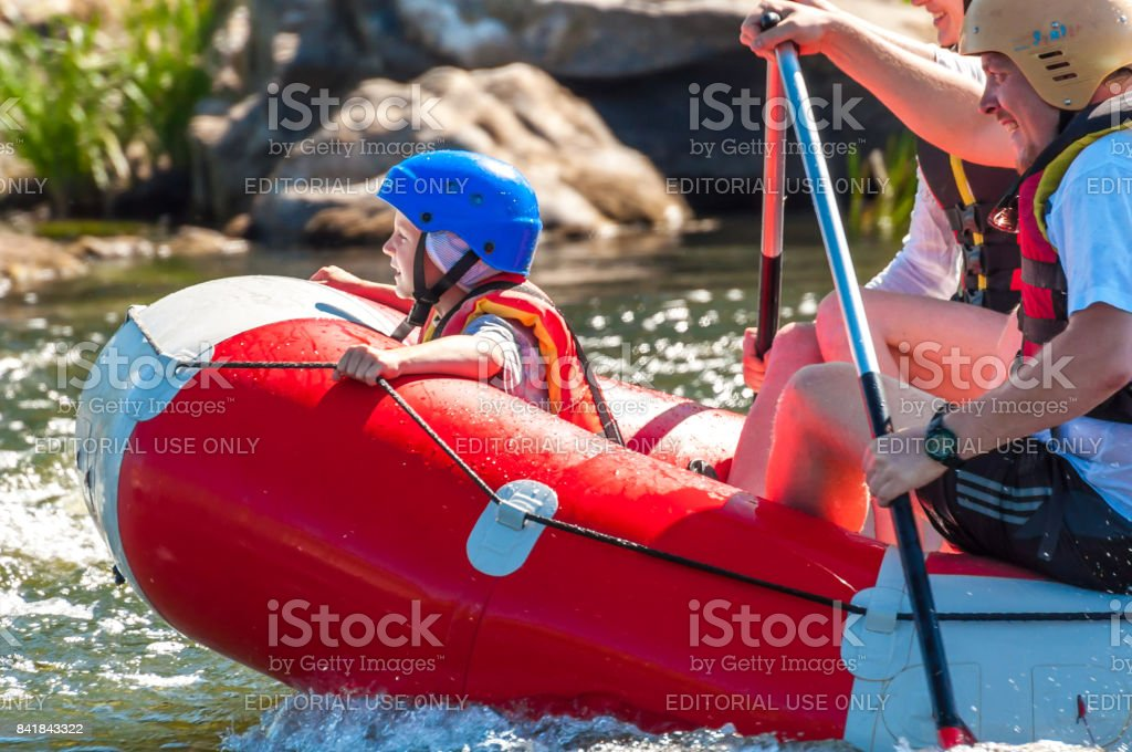 Rafting is an extreme sport and recreation. stock photo