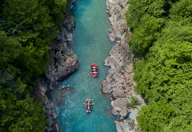 rafting on a mountain river rafting on a mountain river kamchatka peninsula stock pictures, royalty-free photos & images