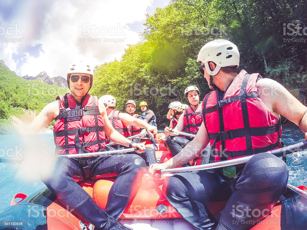 Rafting on a sunny day stock photo