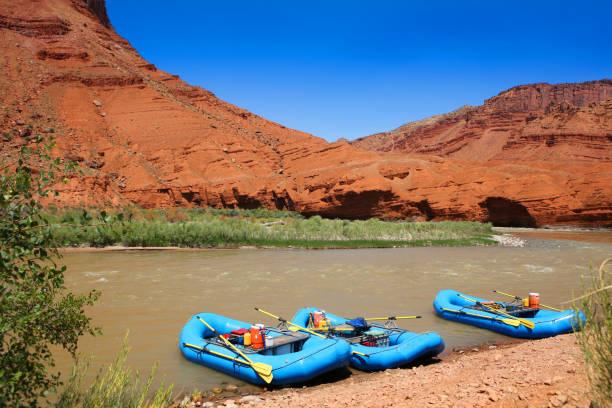 Rafting on Colorado River near Moab Utah stock photo