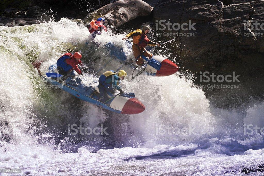Rafting on dangerous mountain river royalty-free stock photo