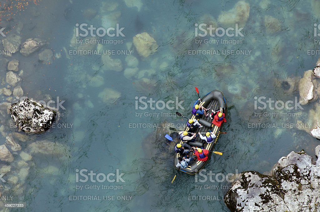 Rafting on River Tara stock photo