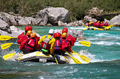 White water rafting on the rapids of river Yosino in Koboke Canyon, Japan. Yosino River is one of the most popular among rafters in Japan.