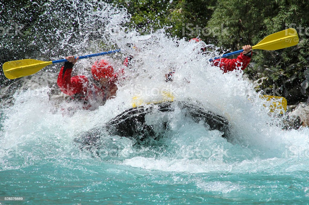 Rafting on Soča river Slovenia stock photo