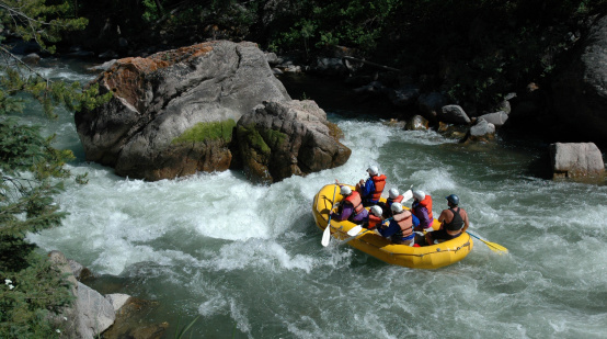 Rafters on the Gallatin River approaching House Rock