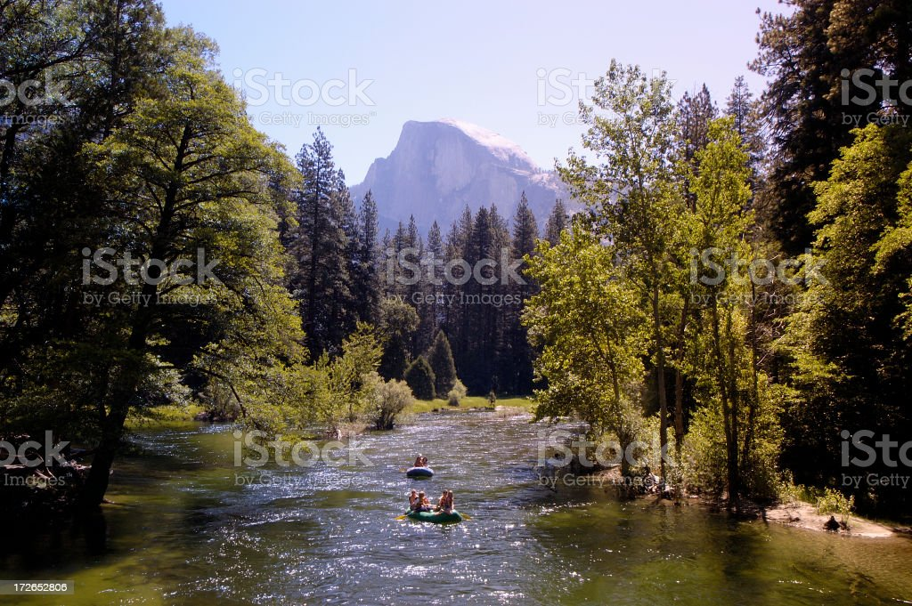Rafting on the Meced river in Yosemite royalty-free stock photo