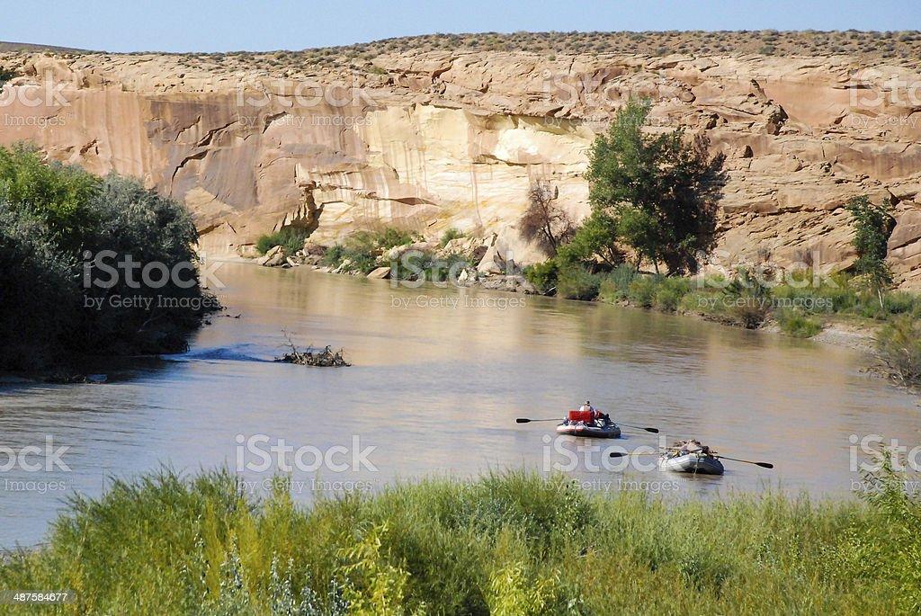 Rafting on the San Juan River near Bluff Utah stock photo