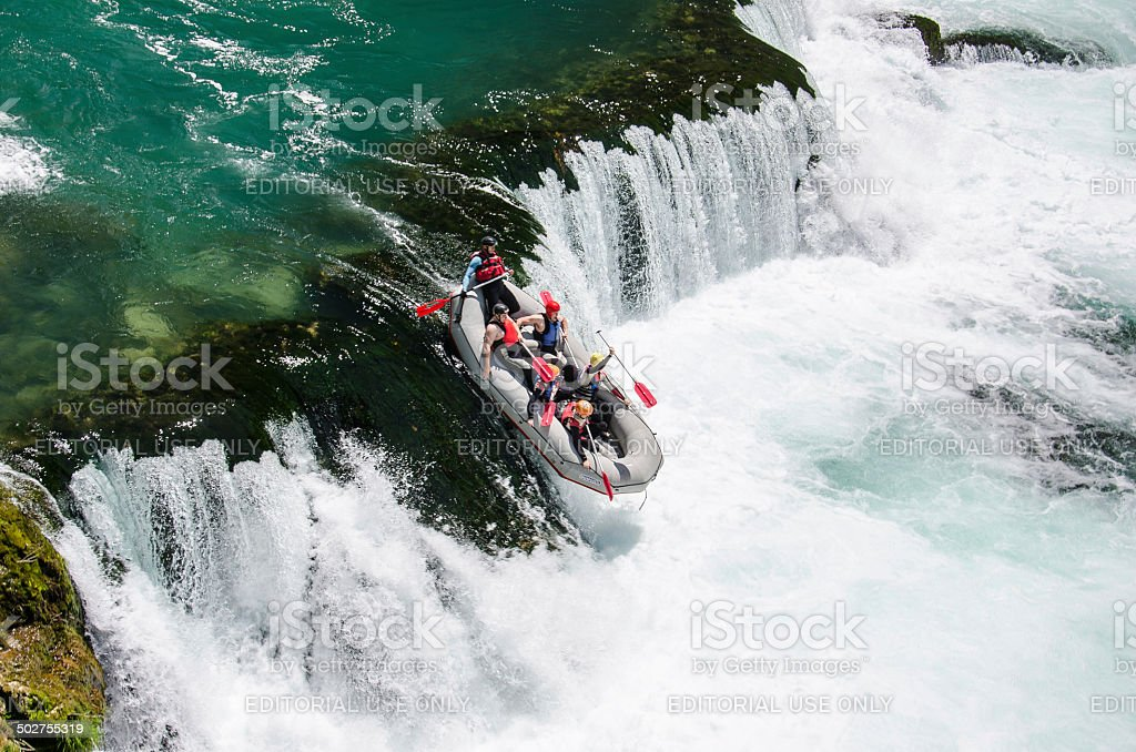 Rafting on Una river at Strbacki Buk stock photo