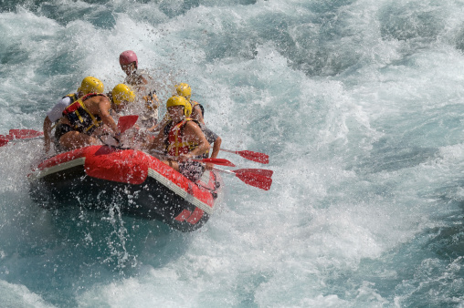 Rafting on white water.