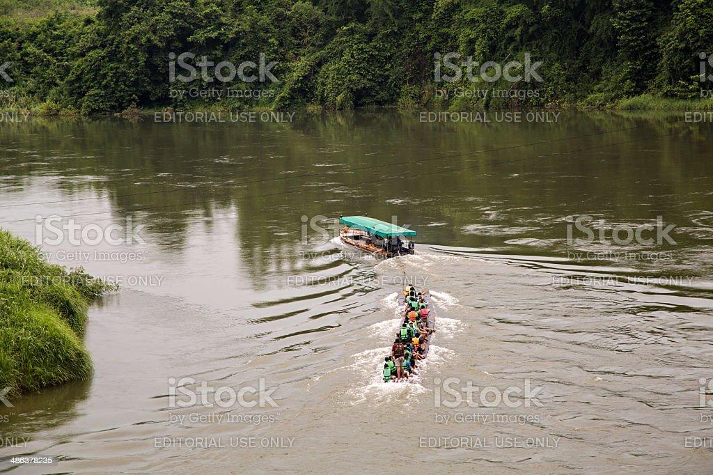 Rafting River Kwai, Thailand stock photo