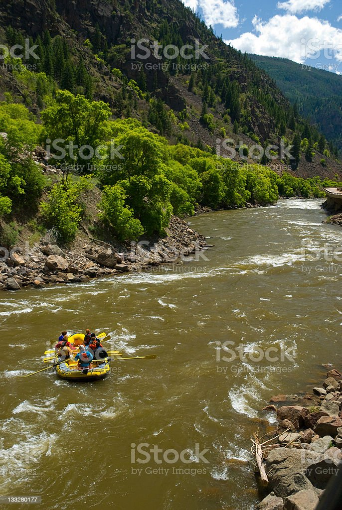 Rafting the Scenic Colorado River in Glenwood Canyon stock photo