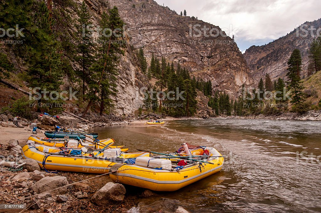 Rafts at Camp, Middle Fork of the Salmon River, Idaho stock photo