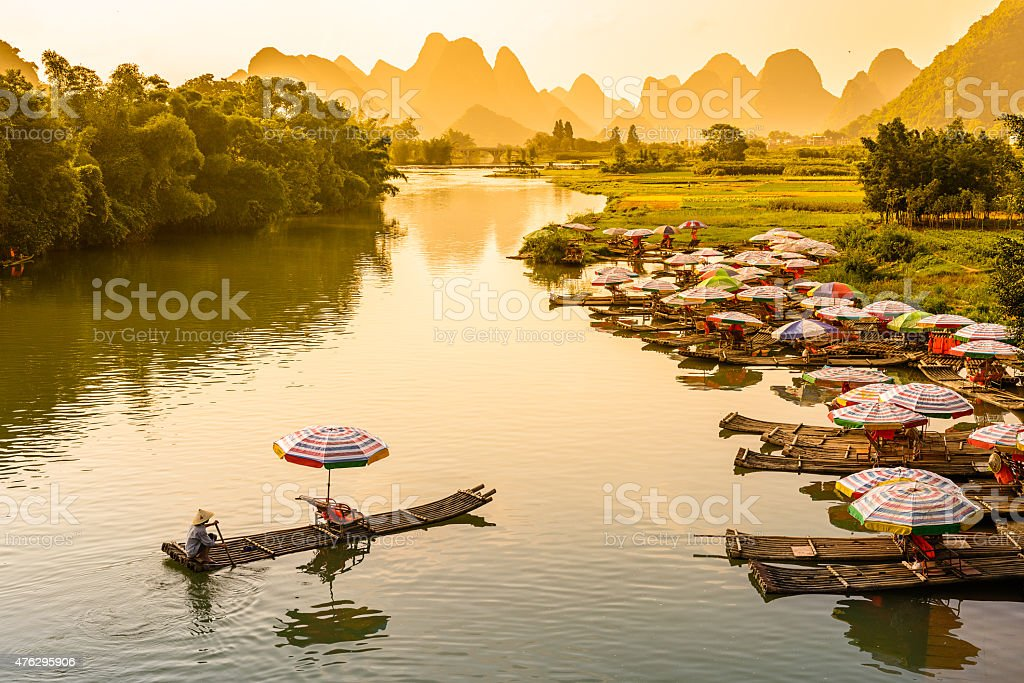 Rafts on the Li River stock photo
