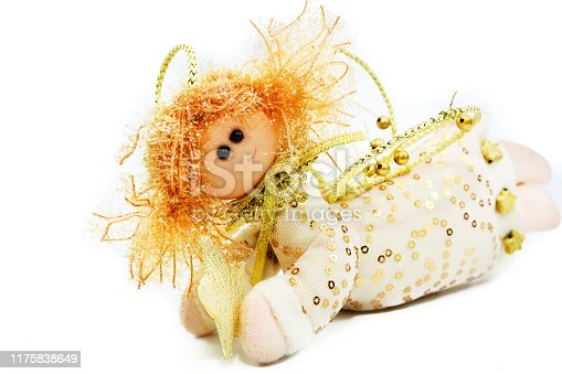 Rag angel doll with braided wings for Christmas party on isolated background
