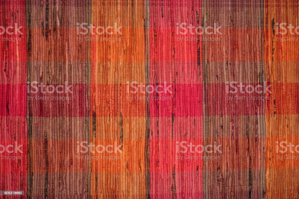 Rag rug texture, vintage textile background. stock photo