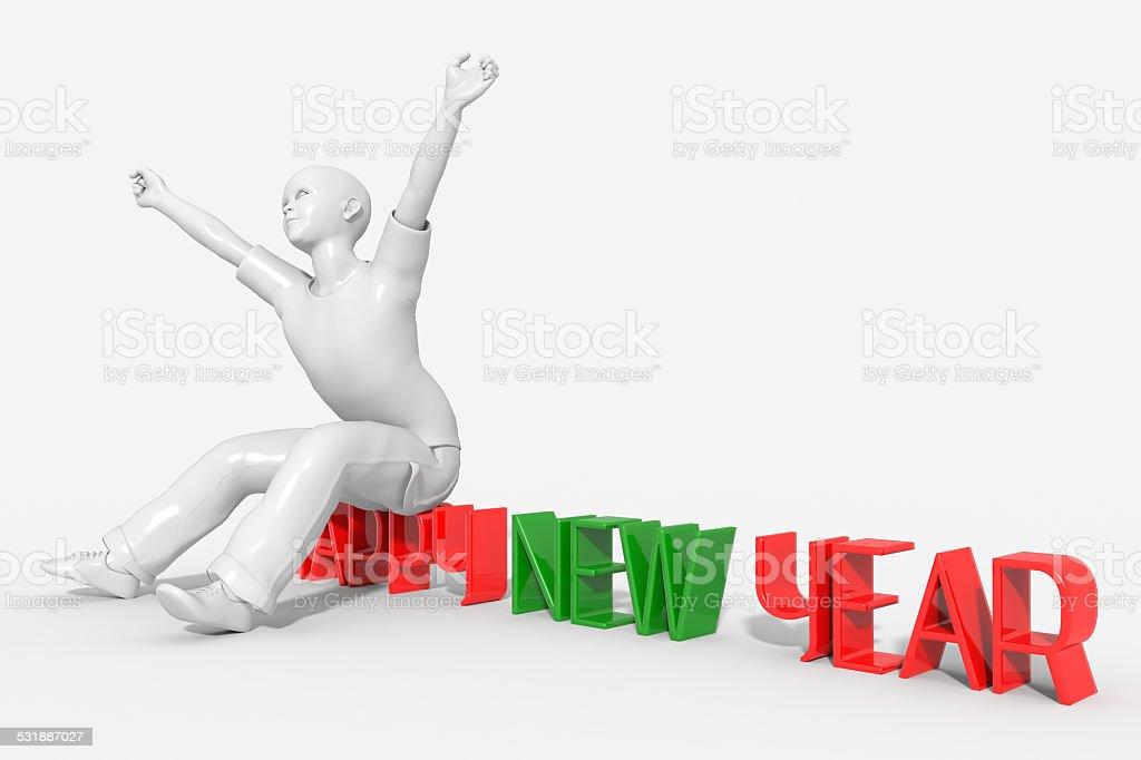 Ragazzo che si sveglia con l'anno nuovo stock photo