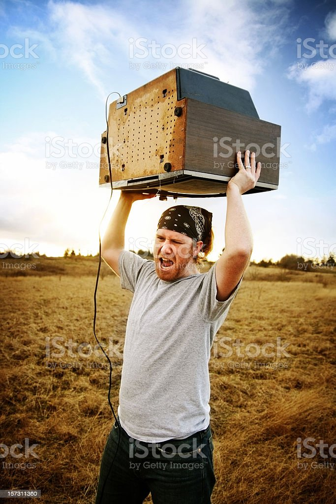Rage against the TV stock photo