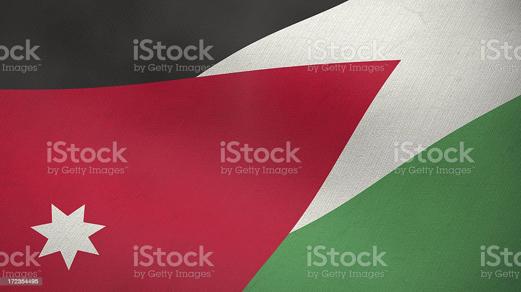 3D ragged flag of Jordan royalty-free stock photo