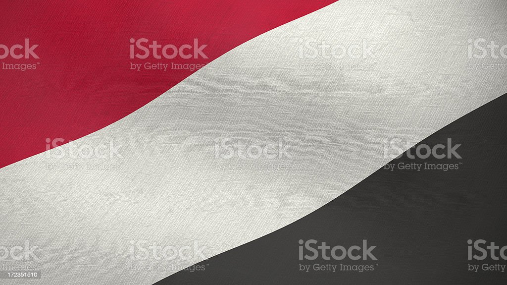 3D ragged flag of Yemen royalty-free stock photo