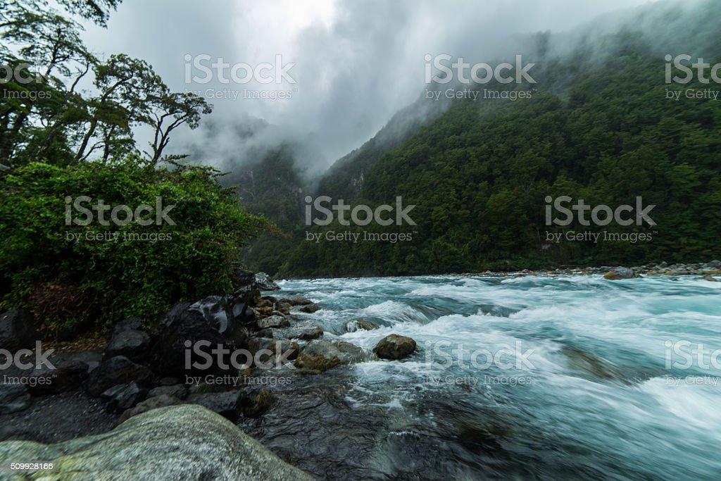 Raging Rapids of a Patagonia River, Puerto Varas Chili stock photo