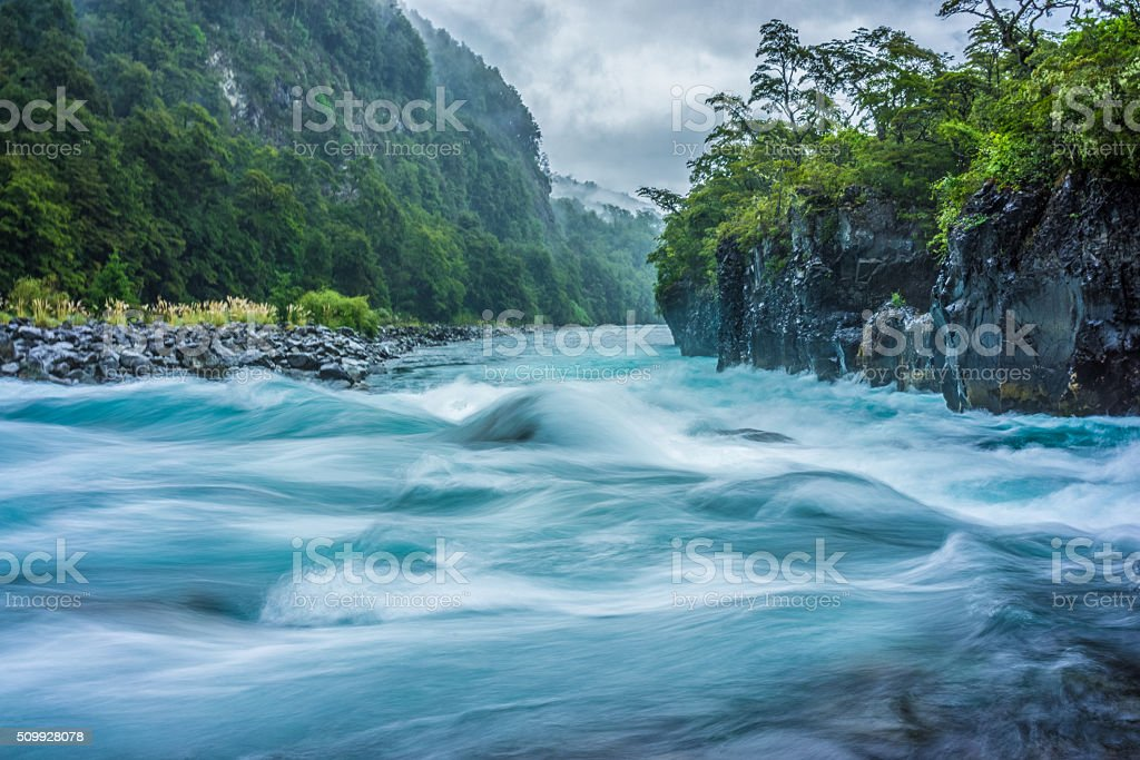 Raging River Rapids of a Patagonia River, Puerto Varas Chili stock photo