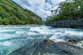 River rapids near Saltos de Petrohue, Patagonia Chili.  Situated near Volcano Osorno.