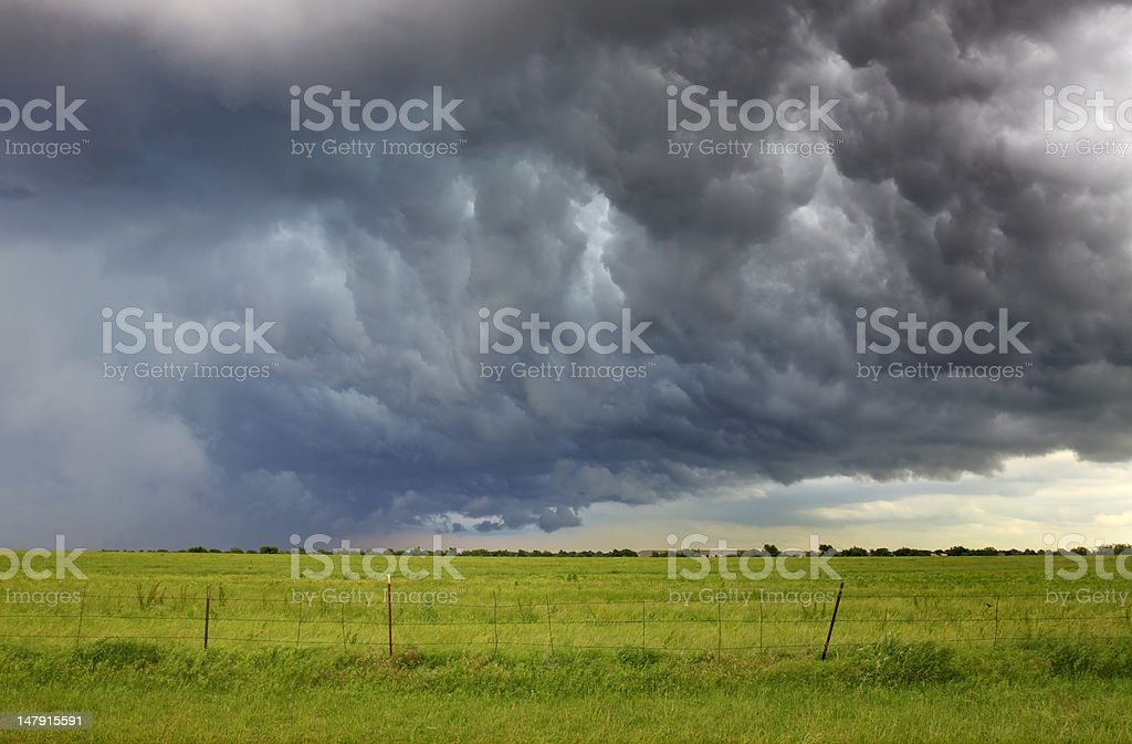 Raging Storm Front Over An Empty Field royalty-free stock photo