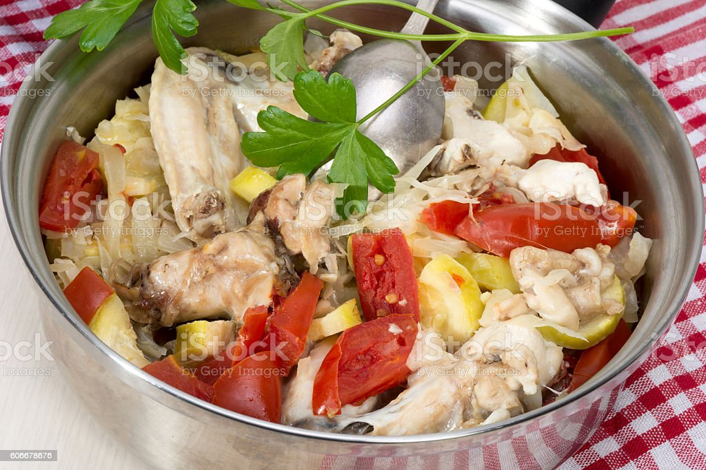 Ragout Of Vegetables With Chicken Cooked In Its Own Juice Stock