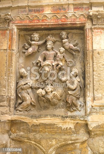 Ragusa Ibla, Sicily: Baroque 18th-C religious carving/shrine on outside wall.  Ragusa Ibla is a UNESCO World Heritage site, part of the Val di Noto group.
