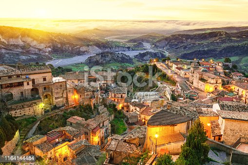 Sunrise over old famous medieval village Stilo in Calabria. View on city and valley. Southern Italy. Europe.