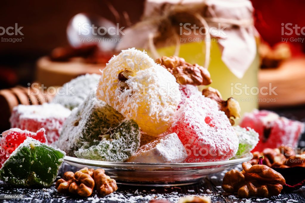 Rahat lukum, oriental sweets with honey, nuts and coconut stock photo