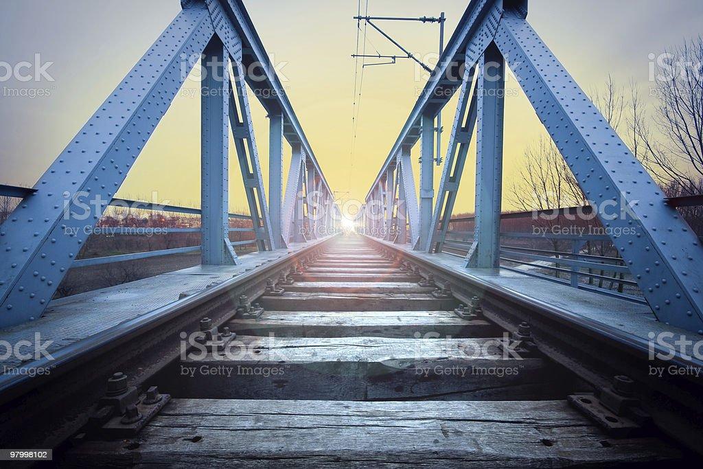 Rail and the blue iron bridge. stock photo