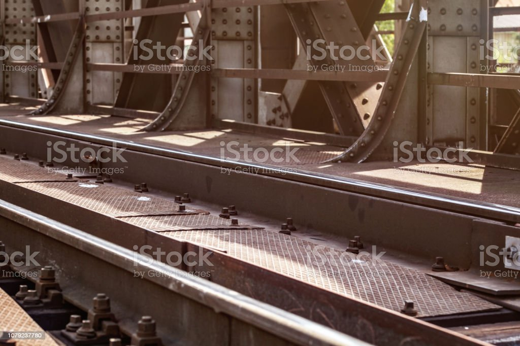 Rail Bridge Detail On Tracks Steel Plates Large Nuts And Bolts Lit