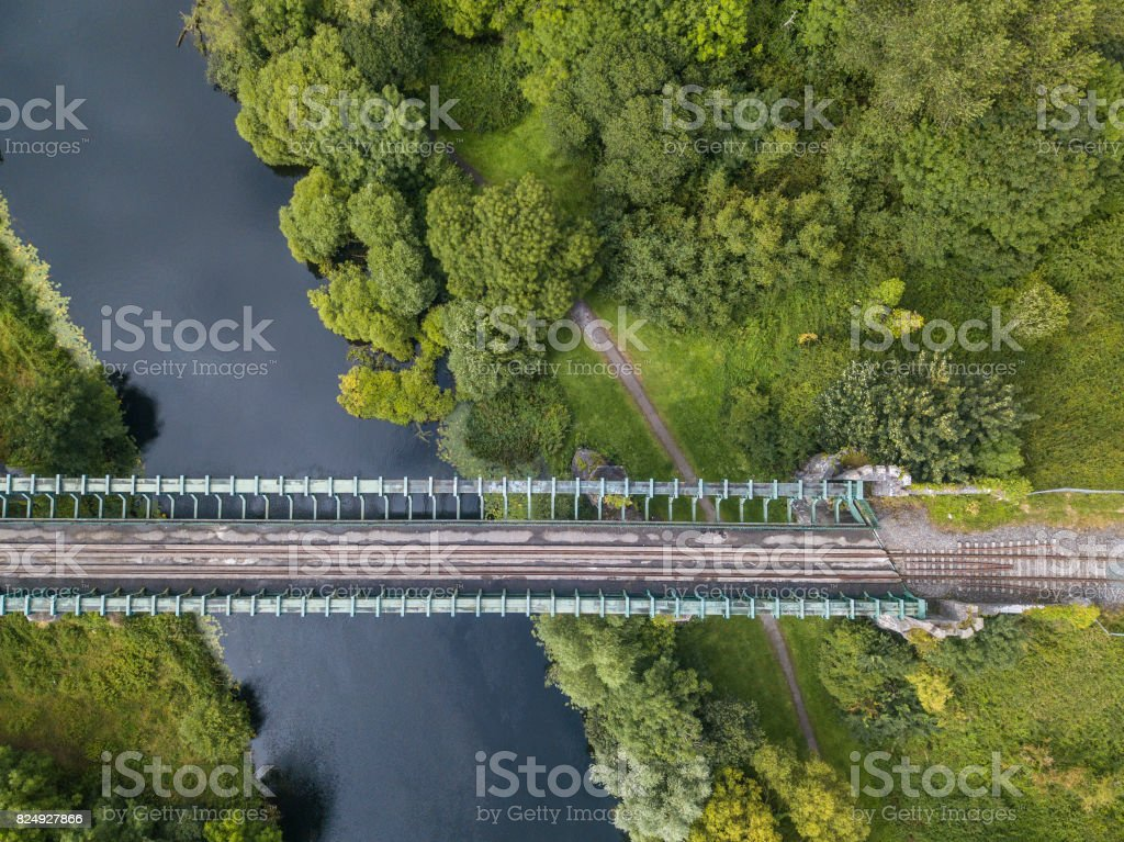 Rail bridge over river Suir, Cahir, Tipperary, Ireland. stock photo