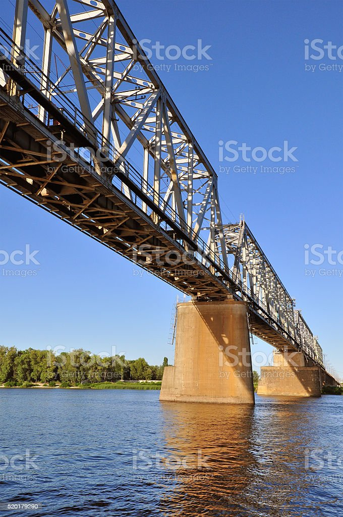 Rail Bridge over the Dnepr river stock photo