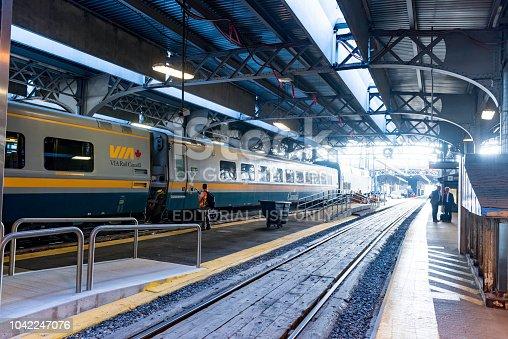 Toronto, Canada - September 4, 2018: VIA Rail Canada  train at the Union Station in Toronto. Province of Ontario, Canada.