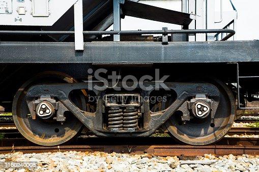 Industrial rail car wheels closeup photo