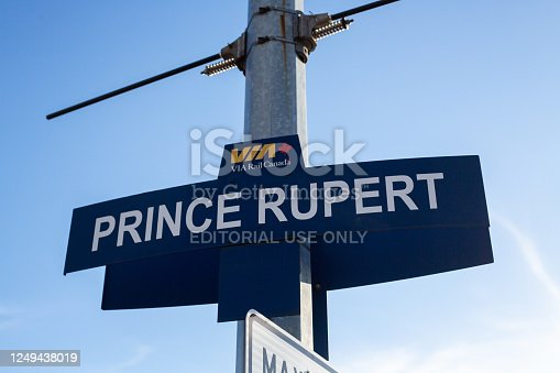 Prince Rupert, Canada - May 17, 2020. A sign for the VIA Rail train station in Prince Rupert.